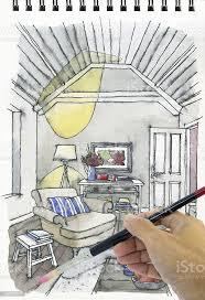 zeichnen und malen aquarell illustration interieur des wohnzimmer stockfoto und mehr bilder altertümlich