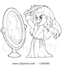 Clipart of a Cartoon Black and White Happy Girl in a Robe bing