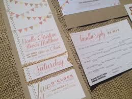 Items Similar To Bunting Calligraphy Wedding Invitation MadLibs Coral Pennant Kraft Burlap Sewn Rustic Woodland Country Shabby Chic Barn Cowboy Button