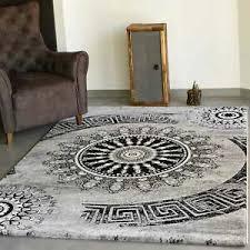 details zu wohnzimmer teppich modern hohe qualität meliert medallion muster in grau schwarz
