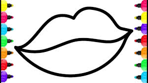 Cute Lips Coloring Pages How To Draw And Lipstick Drawing For Kids Baby