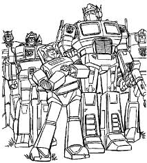 Optimus Prime And Autobots In Transformers Coloring Page