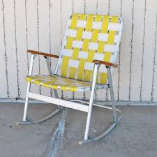 Vintage Aluminum Webbed Rocking Lawn Chairs Folding Patio ...