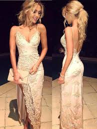 gorgeous spaghetti straps 2017 prom dresses lace appliques with