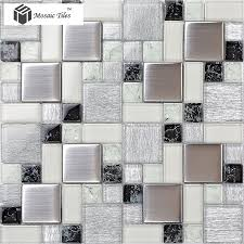 glass tile glossy kitchen backplash bathroom silver