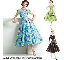 VOGUE VTG 50s RETRO SEWING PATTERN PIN UP ROCKABILLY PARTY DRESS PLUS SIZE