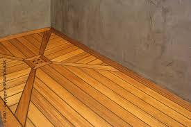 Custom Teak Shower Mat Wood Floor
