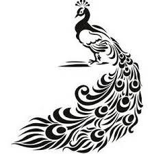 ART DECO Peacock Clip Art Black and White Bing