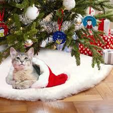 Aytai 48 Inches White Faux Fur Christmas Tree Skirt Luxury Soft Snow Skirts Xmas Holiday