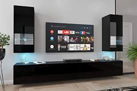 home direct sezana n21 1a modernes wohnzimmer wohnwände wohnschränke schrankwand schwarz weiß hochglänzend an21 18b hg1 1a schwarz möbel ohne led