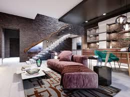 studio loft design mit treppe und dunkler backsteinmauer