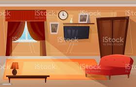 coole grafik wohnzimmer interieurdesign mit möbel sofa tisch leuchten stock vektor und mehr bilder bauwerk