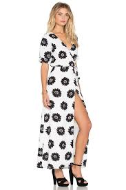 lucca couture short sleeve wrap maxi dress in white lyst