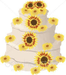 Sunflower Wedding Cake Clipart