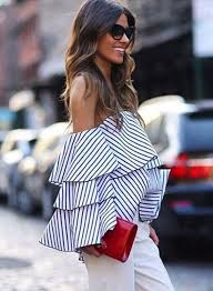 striped off the shoulder ruffled blouse azbro com