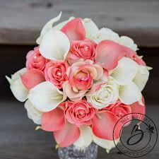 coral and ivory bouquet artificial flowers calla lilies in coral
