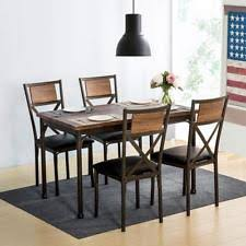 5Piece Retro Dining Set Kitchen Table W 4 Chairs Metal 5PC Home Furniture