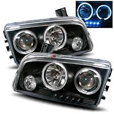 05 07 dodge charger halo led projector headlights black