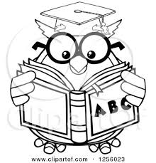 Clipart Of A Black And White Wise Professor Owl Reading An Alphabet Book