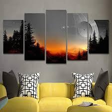 hyxwlh modulare leinwand bilder kunst gerahmt an der wand 5 stück wars baum todesstern malerei wohnzimmer kunstdrucke filmposter home decor