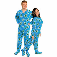 christmas trees and snow footed pajamas with drop seat
