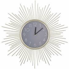 beliani wanduhr gold grau ø 45 cm metall in sonnenform wohnzimmer esszimmer schlafzimmer