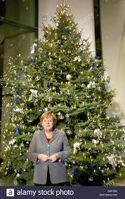 Nordmann Fir Christmas Tree by German Chancellor Angela Merkel Cdu Stands In Front Of A Large
