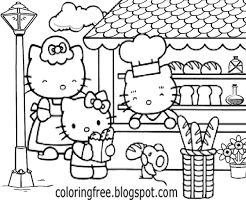 B And W Simple Clipart A Day At The Shops Yummy Bread Cake Hello Kitty Coloring