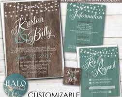 Rustic Wedding Invitation ANY COLOR Invite