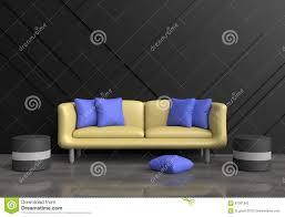 graues wohnzimmer sind verziertes gelbes sofa blaue kissen