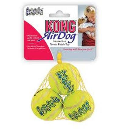 Kong Air Dog Squeaker Tennis Ball - Yellow, X-Small, 3 Pack