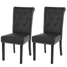 2x esszimmerstuhl chesterfield ii stuhl küchenstuhl nieten kunstleder schwarz dunkle beine