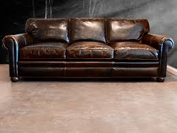 distressed leather sofa mode austin transitional living room