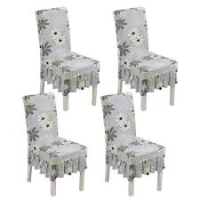 4 Pcs Modern Stretch Dining Chair Printed Skirt Chair Covers Removable  Washable Spandex Slipcovers For High Chairs