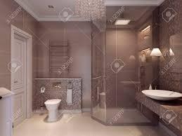 entwerfen sie ein bad im klassischen stil keramische fliesen und platten an den wänden und boden in braun 3d übertragen