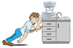Man Is Washing The Dishes In Despair Vector Illustration Of A