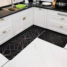 küchenteppich teppichläufer kurzflor waschbare küchenmatte 7mm kristall samt strapazierfähig läufer teppich schwarz gold linie unregelmäßige geometrie