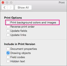 In The Print Dialog Box Background Colors And Images Is Highlighted