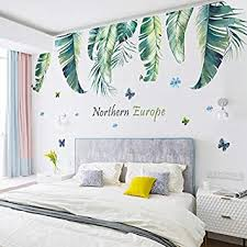 wandtattoo 3d wandtattoo schlafzimmer wandaufkleber simulation blatt pflanze wand wohnzimmer wanddekoration green leaf c 2 blätter