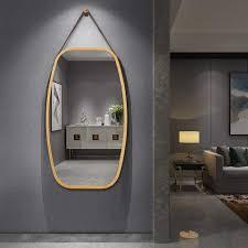 costway badspiegel schmuckspiegel badezimmerspiegel wandspiegel mit bambus rahmen und verstellbarem lederband hängend mit abgerundeten ecken