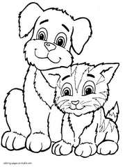 Pet Printable Picture Coloring Pages Of Little Dogs And Cats