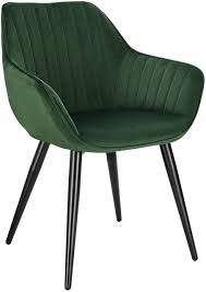 dining chair with armrests made of velvet and metal legs model kerstin