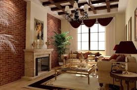 Modern Living Room With Brick Fireplace Furniture Info