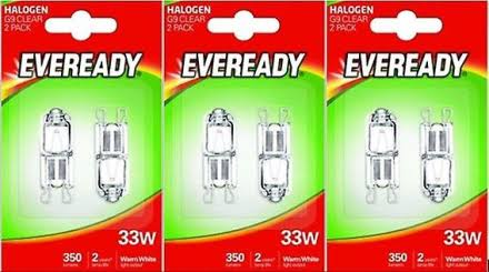 2 x Eveready Eco Halogen 33W (40W Equivalent) Cap Capsule Light Bulb G9 [Energy Class C]