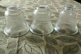 set 3 clear fluted glass light globes ceiling fan chandelier