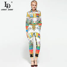 Designer Casual Suit Sets 2 Piece Womens Long Sleeve Blouses Tops Office Lady Printed Fashion