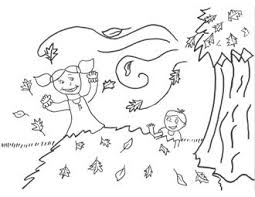 Scarecrow Coloring Page Fall Leaves
