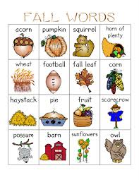 Free fall words with pictures flash card printables