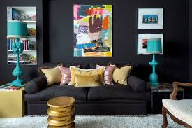 living room with black sofa and walls living room ideas
