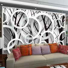 großhandel großes wandbild kundenspezifisches schlafzimmer wohnzimmer fernsehhintergrund kreis ring mode einfaches tapeten gewebe tapeten
